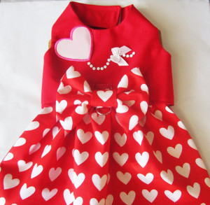 red dog dress with white hearts