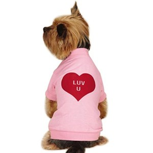 dog wearing pink shirt with luv u heart