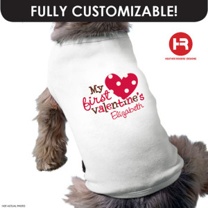 dog with valentine's day shirt